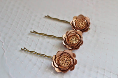 Rose Gold roses bobby pins,rose flower Bridal hair bun accessories, Rose Gold Wedding snap girls Vintage Hairpiece copper bridal hair flower