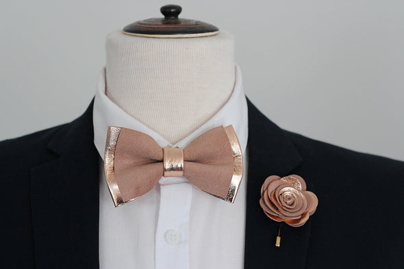 rose gold blush dusty pink lapel flower and bow tie mens wedding set, gromsmen rose gold gift, suspenders, pocket sqare
