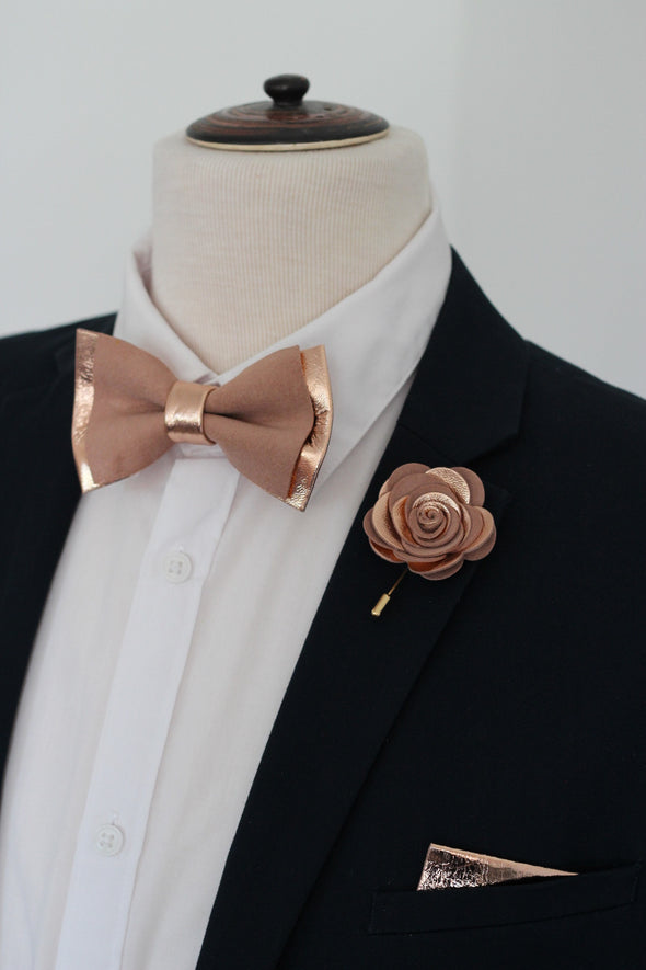 Rose gold and blush leather bow tie set