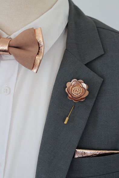 Rose Gold dusty copper rose flower pin, boutonniere for groomsmen men, boys rose gold prom lapel corsage, lapel flower pin, corsage, wedding boutonniere, boho grooms formal attire suit, genuine copper gold leather toddler bowtie, blush pink peach, suspenders set, Nevestica nevestisa design