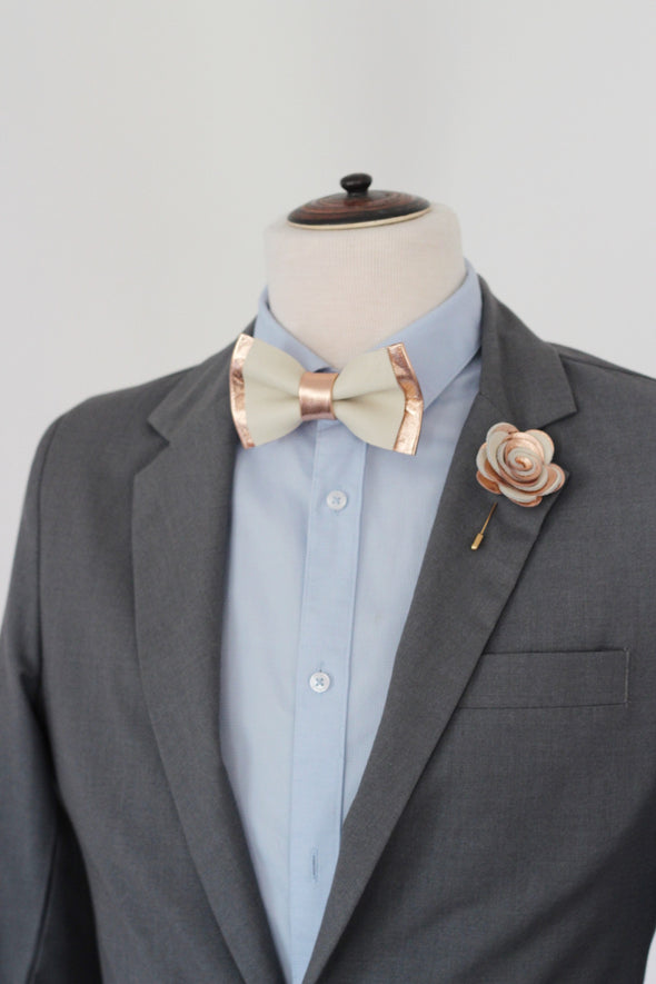 Rose gold and ivory leather bow tie and pin set