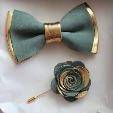 Gold and green leather bow tie set