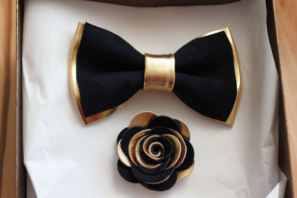 Gold and navy leather bow tie set wedding