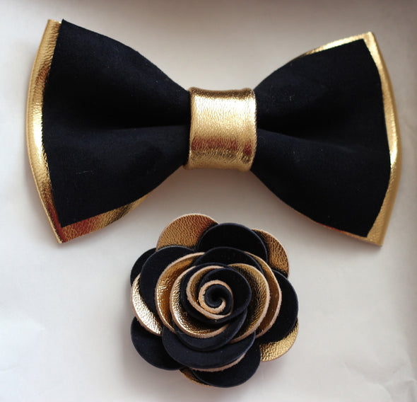 Gold and navy leather bow tie set