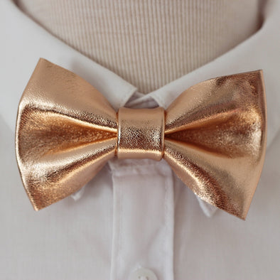 Solid rose gold leather bow tie, pin, square, suspenders