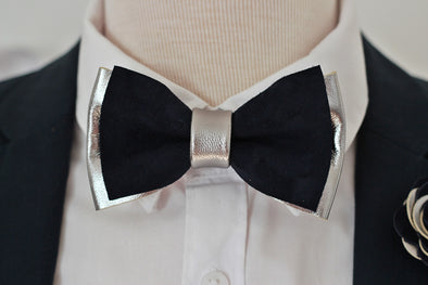 silver and navy blue suede leather formal bow tie mens bowtie set, prom, elopement, groomsmen, gift, ideas, set