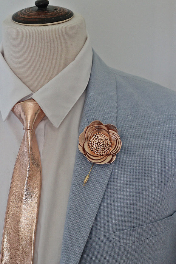rose gold copper and dusty pink suede leather mens neck tie necktie set for wedding prom, groomsmen gift by Nevestica