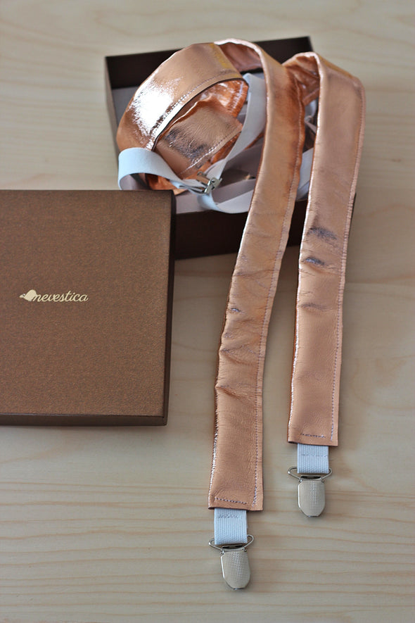 Rose gold and white leather bow tie, pin