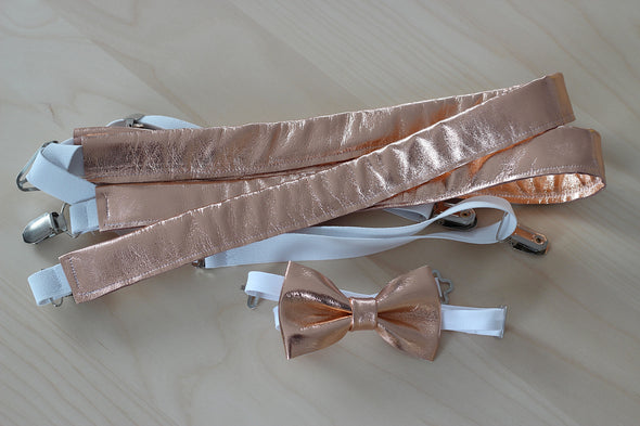 Rose Gold leather suspenders or set, mens suspenders rose gold, dusty pink, copper, bow tie, mens, groomsmen, grooms, gift, attire