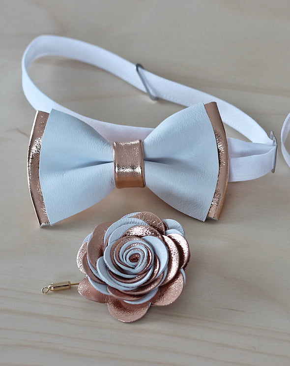 white and rose gold leather bow tie and boutonniere set by nevstica
