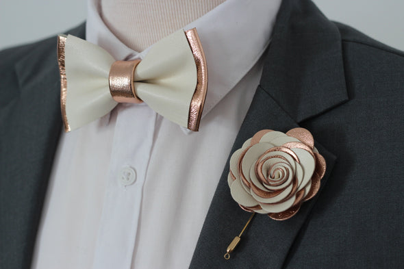 Rose gold and ivory leather bow tie and boutonniere lapel flower set, nevestica design