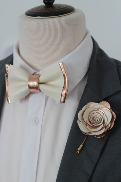 Rose gold and ivory leather bow tie and pin set, nevestica design