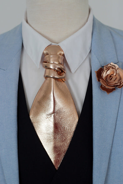 rose gold leather ascot neck tie necktie formal attire wedding elopement ideas