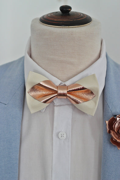 Rose gold and ivory pointed leather bow tie and pin set