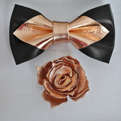 Rose gold black lapel flower and bow tie mens wedding set, gromsmen rose gold gift, suspenders, pocket sqare. Boys prom set.