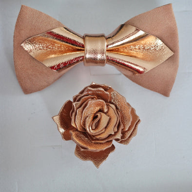 Rose gold blush dusty pink lapel flower and bow tie mens wedding set, gromsmen rose gold gift, suspenders, pocket sqare. Boys prom set.