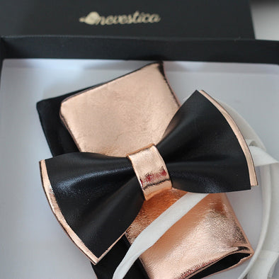 rose gold and black nevestica mens bow tie set for prom or wedding