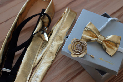 mens Gold leather suspenders, bow tie bowtie, flower pin, boutonniere, gold or set, wedding prom boys