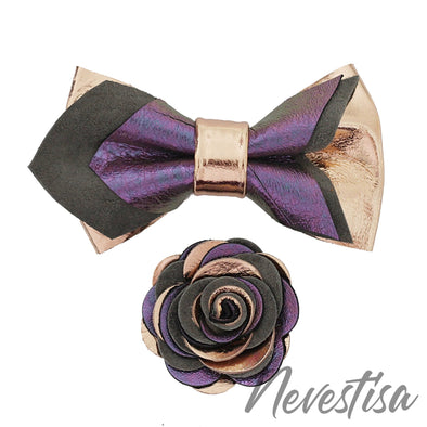 Violet lilac & rose gold pointed leather bow tie set wedding prom boys groom groomsmen color palette theme board ideas