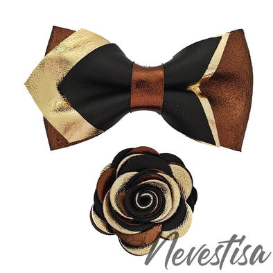Black copper pointed leather bow tie set autumn wedding set groomsmen boutonniere color palette board