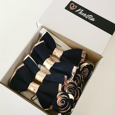Rose Gold and navy leather groomsmen wedding attire bow tie set suspenders lapel flower pin boutonniere prom corsage groomsmen groom formal wedding prom attire