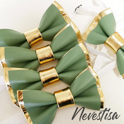 Green and gold leather bow tie for men, pin set groomsmen attire