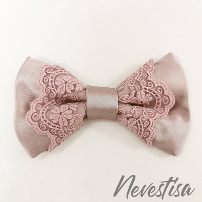 Dusty pink light taupe lace satin bow tie set