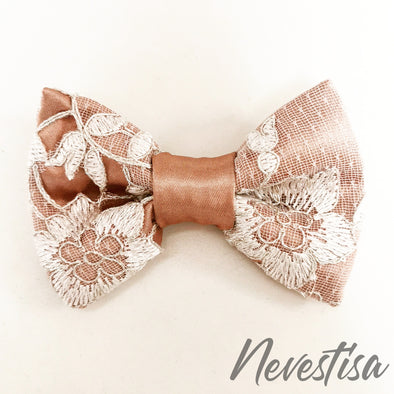 Copper satin and silver white lace bow tie mens wedding set, groomsmen formal wedding attire rose gold gift, pocket square. Boys prom set.