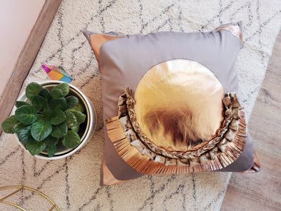 Luxury taupe satin boho pillow case with rose gold details hand made by our crafted workers in Europe. Rose gold neo-deco rainbow design genuine leather Pillow case cover 20 x 20 inch/ 50x50cm, rose gold blush nude pink gold throw
