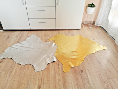 Luxury rose gold, gold floor leather skin hide rug.  Geometric hide floor rug, nevestica design.
