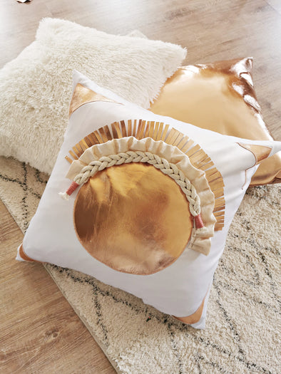 Rose gold Beach home, circular Luxury pillow in neutral white and rose tufted gold colors with rope and linen macrame design.  All hand made pillow, pilow nursery living room home decor