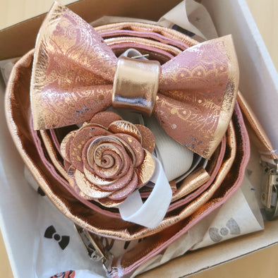 Rose gold and blush pink leather bow tie set