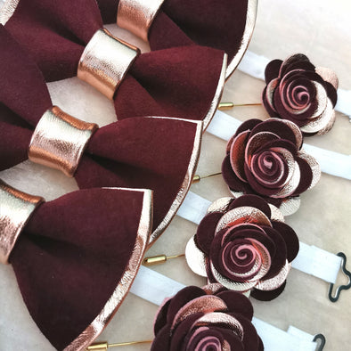 rose gold and burgundy mens groomsmen bow tie set, lapel flower pin, rose gold boutonniere, wedding prom, burgundy maroon, deep red