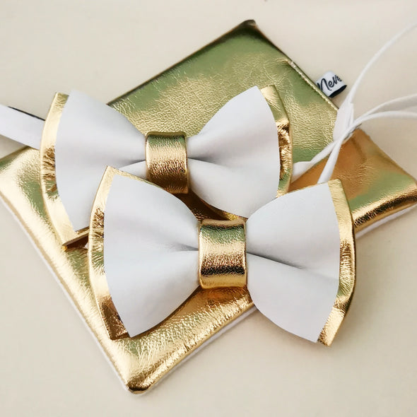 Gold and white mens bow tie set