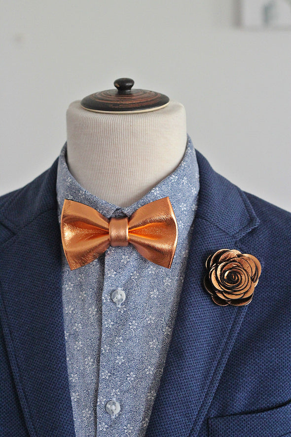 copper wedding bow tie and boutonniere prom mens set boys set groomsmen gift