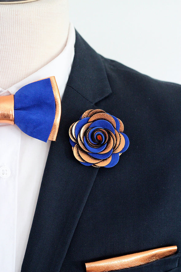 Copper royal blue bow tie and flower pin set Bride, brides, bridesmaids, groomsmen, hochzeit, hochzeitzanzug, brautigam, poroka,poročna trgovina, poročna obleka, moški metuljček, groom, Solid silver leather bow tie, pin, square, suspenders, fliege, herren mode, boutonniere, wedding boutonniere, ansteckblume, lapel flower,