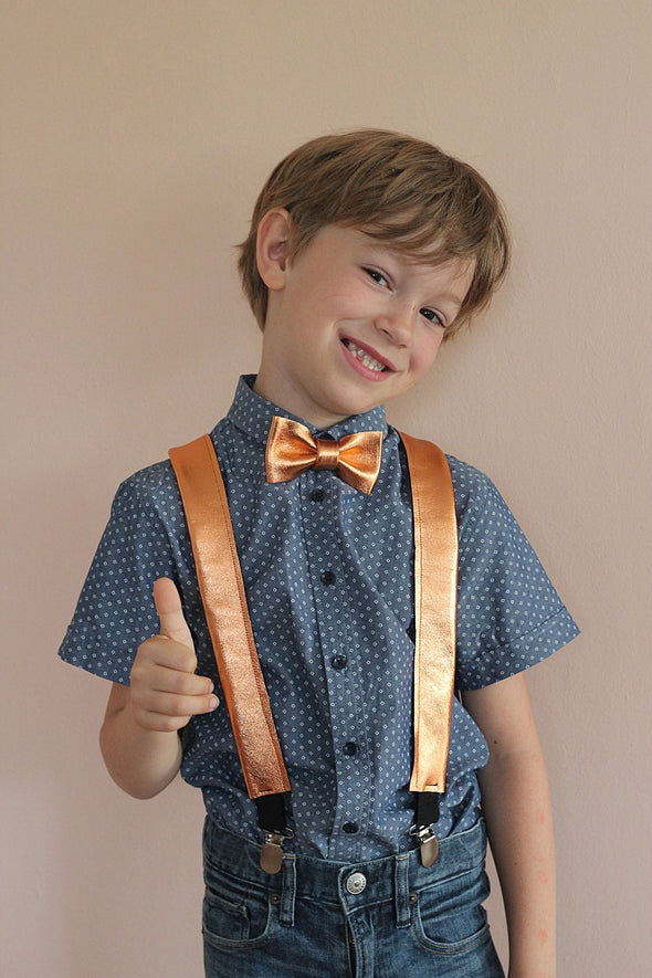 Copper leather boys bow tie, suspenders