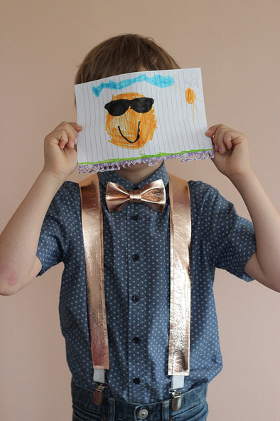 boys rose gold bow tie and suspenders set