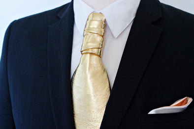 leather gold ascot neck tie necktie formal suit attire wedding groomsmen