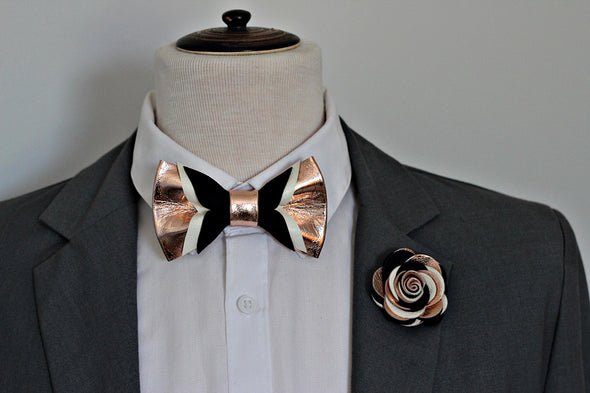 Rose Gold and navy blue suede genuine leather bow tie for men,boys rose gold wedding bow tie boutonniere, midnight dark blue prom boys bowtie, wedding formal attire groomsmen gift set, nevestica nevestisa design