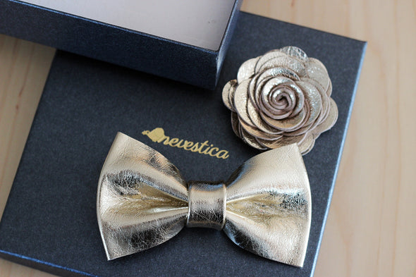 champagne gold leather bow tie, lapel flower