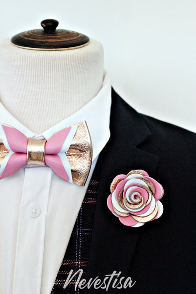 Rose Gold nude leather bow tie for men,boys rose gold wedding bow tie, boutonniere, genuine gold leather toddler bow tie,blue,copper, candy pink set, prom bow tie, groomsmen wedding gift attire, nevestica nevestisa design