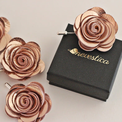 rose gold lapel flower wedding pin boutonniere