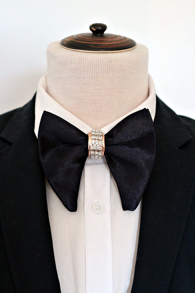 Navy blue satin oversized butterfly big formal men bow tie