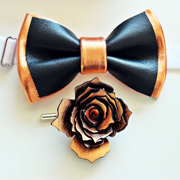 Black and copper leather bow tie set