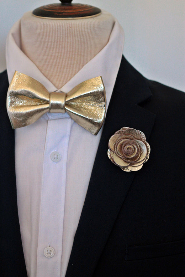 champagne gold ivory lapel flower and bow tie wedding prom set by nevestica