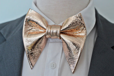 Solid big oversize butterfly style rose gold leather bow tie nevestica