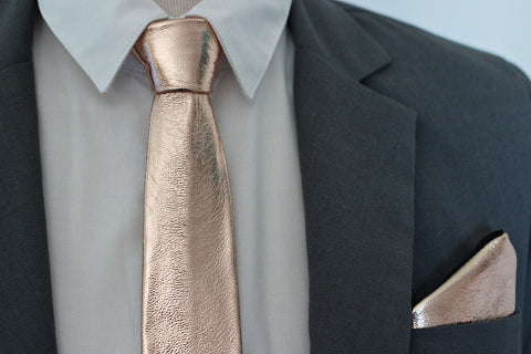 The rose gold copper solid leather neck tie used in groomsmen formal attire and also wary clasy gift for your men, NEVESTICA nevestisa style