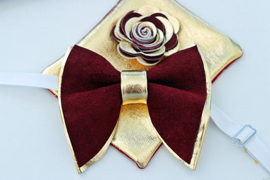 Burgundy suede vine red maroon color board ideas leather bow tie groomsmen groom wedding attire prom set gold corsage boutonniere