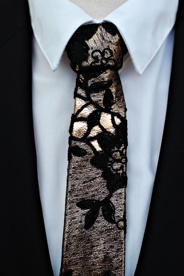 boho wedding prom men's rose gold  black leather and lace slim neck tie. It is prettied with good standing knot and attached with adjustable strap in rose gold.